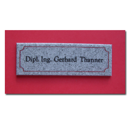 Hinweisschild Corian Granit Design hellgrau