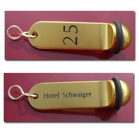 Hotel Schlüsselanhänger Alu gold SAA301