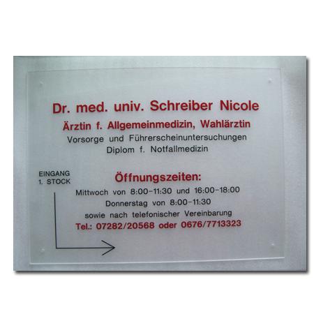 Arztschild Plexiglas