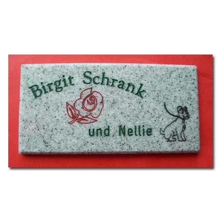 Firmenschild Corian Granit Design hellgrau